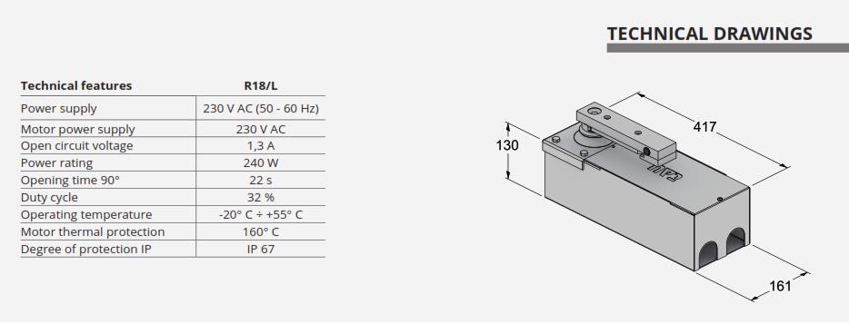 thông số kỹ thuật cổng tự động âm sàn R18-Insidekit05t hãng TAU Italia