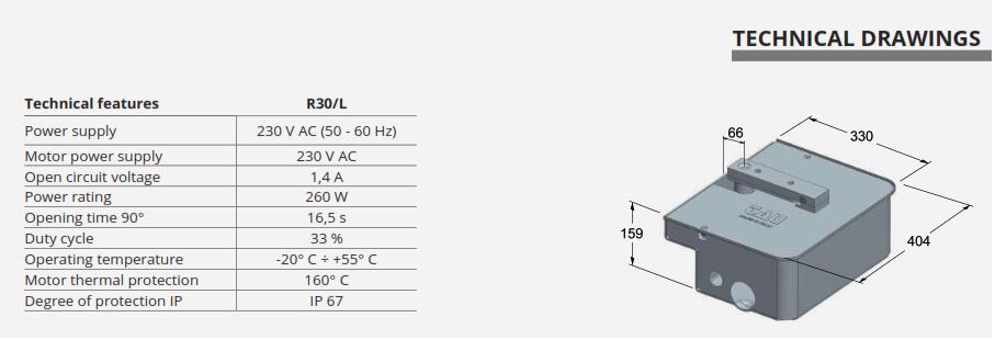 thông số kỹ thuật cổng tự động âm sàn R30-650R30 hãng TAU Italia